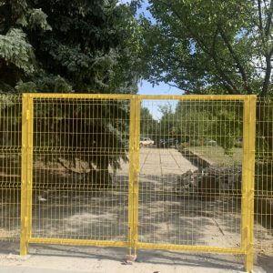 ворота из сварной сетки желтые